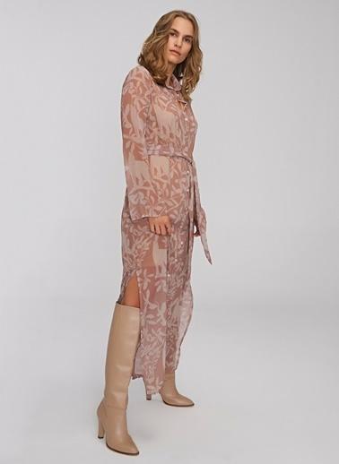 People By Fabrika Desenli Bağlama Detaylı Elbise Vizon